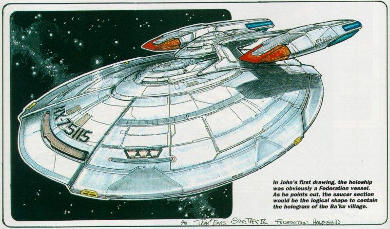 Fsd starship concept art star trek insurrection for Wohnung star trek design